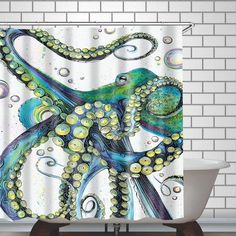 Buy Emvency Shower Curtain Vintage Colorful Fashion Octopus Painting Polyester Fabric 78 X 72 Inches Shower Curtains Mildew Resistant Waterproof Adjustable Hook Odorless Bathroom at Discounted Prices ✓ FREE DELIVERY possible on eligible purchases. Octopus Drawing, Octopus Painting, Octopus Art, Octopus Sketch, Octopus Decor, Octopus Shower Curtains, Fabric Shower Curtains, Octopus Tattoos, Posca Art