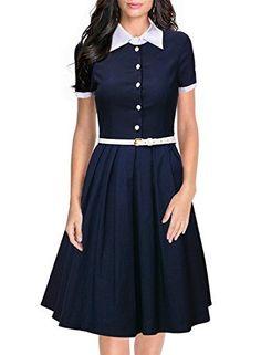 Miusol Women's Polo Neck Contrast Retro Short Sleeve Business Swing Dress Miusol http://www.amazon.com/dp/B017682Y3O/ref=cm_sw_r_pi_dp_ygdpwb1T6BPPA