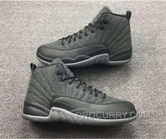 "fac4c731008c 2016 Air Jordan 12 ""Wool"" Dark Grey Metallic Silver-Black For Sale New  Arrival"