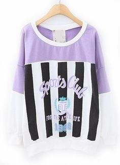 Purple Contrast White Batwing Sleeve Letters Print Sweatshirt pictures