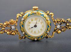 Tiffany & Co. Art Nouveau Enamel Wristwatch