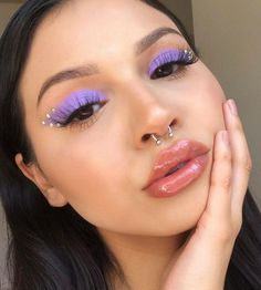 Edgy Makeup, Purple Eye Makeup, Makeup Eye Looks, Eye Makeup Art, Cute Makeup, Pretty Makeup, Skin Makeup, Eyeshadow Makeup, Purple Eyeshadow