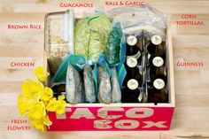 """Taco Box"" - Perfect lil' box of 'dinner' to bring over to a friend who has just had a baby, someone who isn't feeling well, take one to your college student or neighbor, even great idea for a twist on a traditional Easter Basket!  Great 'Thank You' gift for Teachers, Co-Workers .. Hey!  THIS woud be COOL for a raffle and/or FUNdraiser ... Soccer, Softball/ Baseball and Track, what do you think!?  Mother's Day too!  Make a ""CupCaaaake Box"" or ANY Theme!"