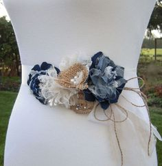Denim Bridal Sash Burlap Wedding Floral Bridal by SorellaSashes