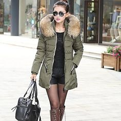 MEROKETTY®Women's Fur Collar Warm Thick Plus Sizes Hoodies Zipper Down Coat – CAD $ 102.54