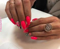 Short Nail Designs - Learn with step-by-step tutorials Neon Nails, Love Nails, Pink Nails, Almond Acrylic Nails, Summer Acrylic Nails, Classy Almond Nails, Fruit Nail Art, Wedding Nail Polish, Gel Nail Art Designs