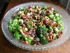 BROCCOLI, RAISIN SALAD    I think I would use Poppyseed Dressing instead of making dressing.