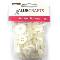 Hobbycraft Value Mixed Buttons White