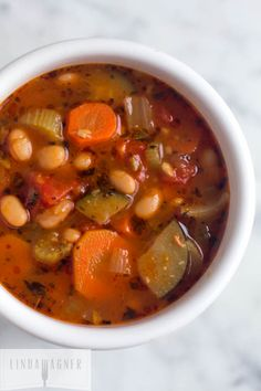 This Easy Vegetable and Canellini Bean Soup is deliciously healthy and great for weight loss!