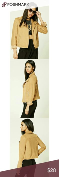 NWT Forever 21 Faux Suede Camel Moto Jacket Zipper Cuffs/ Very Nice Color* Fresh Out of Package* Forever 21 Jackets & Coats