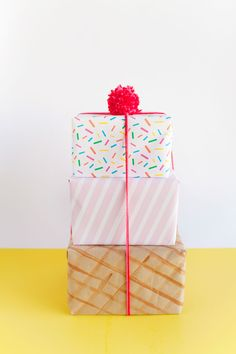 Ice cream cone inspired gift wrap, what could be more deliciously adorable?