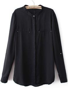 Black V Neck Long Sleeve Loose Chiffon Blouse - Sheinside.com