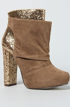 """Velvet bootie with glitter heel and ankle; zipper on side; 4"""" shaft, 11"""" ankle, 4.75"""" heel, 1""""sole."""