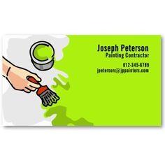 Painter Hand Painting Green Business Card