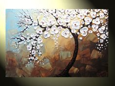 Original Abstract Tree Painting, Textured Tree of Life, Abstract Floral Painting, White Flowers, Blue Brown, Palette Knife