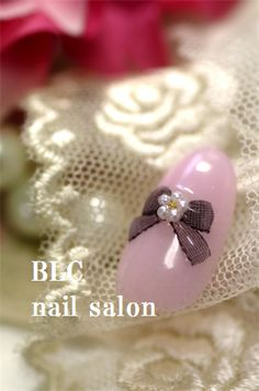 水彩フラワー&透かし柄リボン の画像 新潟市中央区万代ネイルサロン~BLC nail salon