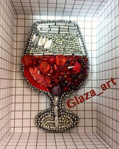 """Брошь из бисера """"Бокал красного вина"""". Продана. Состав: бисер, бусины, кристаллы, биконусы, стразы, камни, стеклярус, фетр, кожзам"""