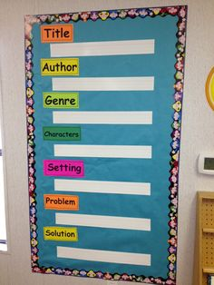 Story element wall- wipe off sentence strips make for easy cleaning!
