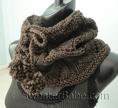 #142 Drawstring Lace Cowl by SweaterBabe. Available at Knit Picks.