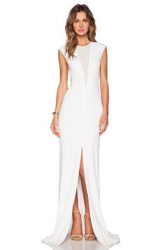 RACHEL ZOE Amara Sheer Inset Maxi Dress in Pure White   REVOLVE
