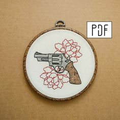 Pistol and Flowers Hand Embroidery Pattern (PDF modern embroidery pattern - gun embroidery - rose embroidery) by ALIFERA on Etsy