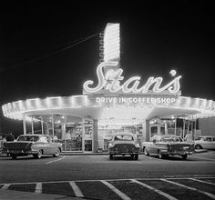 Stan's Drive-in Coffee Shop on the SE corner of Sunset and Highland, 6760 Sunset Blvd, across from Hollywood High School and Currie's ice cream. (1958)