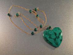 10K Gold Malachite Heart Necklace Bridal by LynnHislopJewels