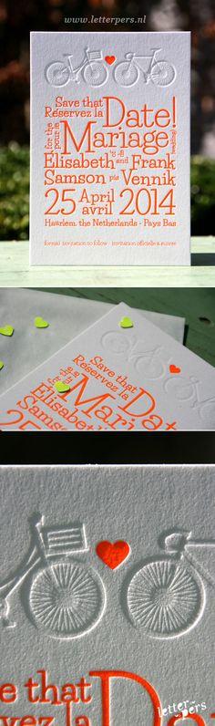 Orange 811 with blind deboss bikes for this wedding invite from letterpres.nl