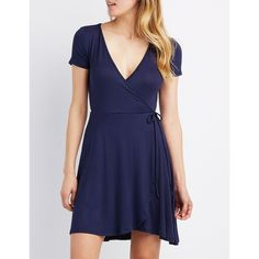 Charlotte Russe Surplice Wrap Skater Dress ($15) ❤ liked on Polyvore featuring dresses, navy, wrap dress, jersey wrap dress, short sleeve fit and flare dress, navy dress and jersey dress