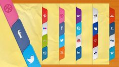 """A unique, colourful and funky set of social media """"tabs"""" to adorn the sidebar of your next design. Free PSD and ready-coded in CSS. Web Design, Web Banner Design, Blog Design, Ui Kit, Filofax, Best Banner, Ads Creative, Print Advertising, Advertising Campaign"""