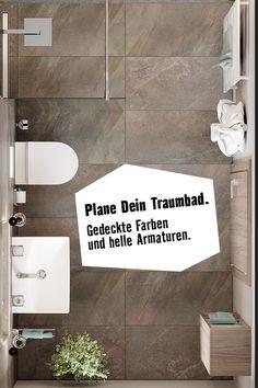 Ein Duschbad zum Entspannen. So könnte Dein Wallis-Traumbad aussehen. Wallis, Planer, Bath Mat, Home Decor, Porcelain Tiles, Guest Toilet, Flooring Tiles, Remodels, Homemade Home Decor