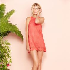 """Lovers + Friends Caspian Shift Dress - Coral Reef Brand NWT Caspian Shift dress in Coral Reef in size Medium. A lightweight overlay of openwork crochet sweetens a supremely pretty shift dress framed with a jewel neckline and a scalloped hem. 34"""" length (size Medium). Exposed back-zip closure. Jewel neck. Sleeveless. Lined. 100% Qmilch azlon or 100% polyester with 95% polyester, 5% elastane contrast. Hand wash cold, line dry. Lovers + Friends Dresses Mini"""