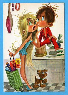 Vintage postcard 70s. Big eyed girl in love with by bluumievintage