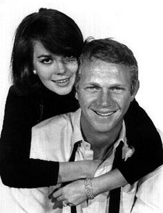 Love With The Proper Stranger Portrait of Natalie Wood and Steve McQueen in White Background Premium Art Print