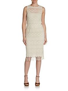 8d0cf8368ed Saks Fifth Avenue GRAY - Lace-Crochet Fringe Dress