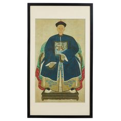 Chinese Ancestor Painting of Grandfather in Blue with Crane #ChineseWallArt