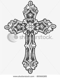 Hand drawn Cross tat