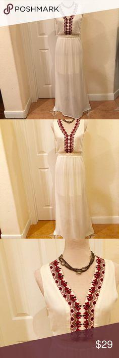 Francesca's Alta Creme Sheer Maxi Dress Francesca's Alta Creme Sheer with Slip. Maxi Dress. New without Tags. Never Worn Francesca's Collections Dresses Maxi