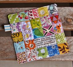 Patchwork Happy Coaster by Heidi Staples of Fabric Mutt Quilted Coasters, Fabric Coasters, Quilted Potholders, Easy Sewing Projects, Quilting Projects, Sewing Crafts, Crazy Patchwork, Mini Quilts, Textiles
