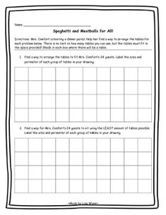Area and Perimeter with Spaghetti and Meatballs for All