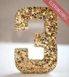 Gold Sequined Table Number