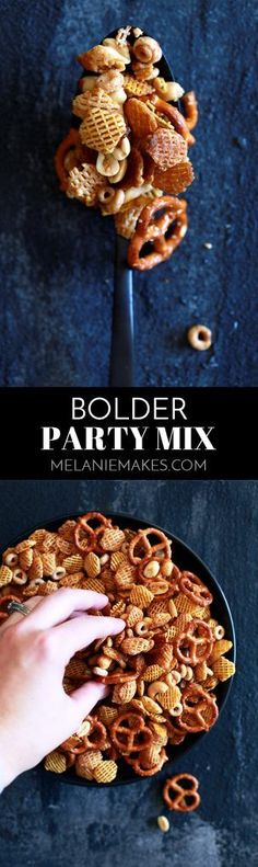 Bolder Party Mix - Melanie Makes Snack Mix Recipes, Recipes Appetizers And Snacks, Easy Snacks, Appetizers For Party, Party Recipes, Dip Recipes, Holiday Recipes, Desserts, Snack Items