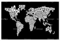 cuadros mapamundis con letras - Buscar con Google