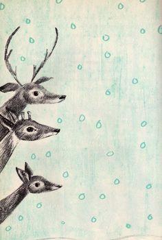 Illustration - Deer in the Snow by Miriam Schlein, Illustrated by Leonard Kessler