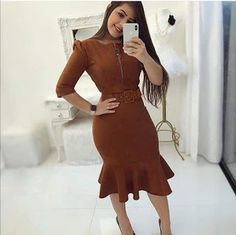 Vestidos Lindos Church Dresses, Pretty Dresses, Classic Style, Fashion Dresses, High Neck Dress, Short Sleeve Dresses, Vogue, Bodycon Dress, Chic