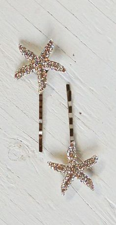 Rhinestone Starfish Hair Accessories Bobby Pin Set. Love this great way to add a little sparkle!