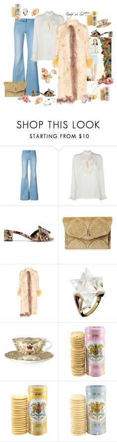 """Silk Trench- spring must have"" by juliabachmann ❤ liked on Polyvore featuring Balmain, Gucci, Miu Miu, Hayward, Prada, Tessa Packard, Royal Collection Trust and Ippolita"