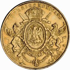 Mexican Gold Coins‎ - 20 pesos of Maximilian I Mexico City mint. The Maximilian Twenty Pesos was struck in 1866 and .