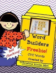 CVC Word Builders {Self Checking} Freebie!My emergent readers love to practice blending sounds and building CVC words over and over at this word work center! These word builders are  self checking since students only have the letters they need to build the pictured words on their mat.