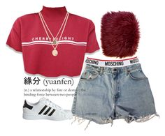 """""""Untitled #328"""" by almoghatouel ❤ liked on Polyvore featuring Moschino, Levi's, adidas Originals and Kenneth Cole"""